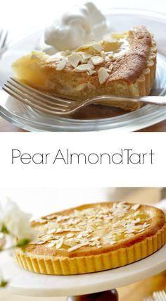 A Pear Almond Tart, a great Thanksgiving Dessert Idea. Includes recipe video too. Easy Tart Recipes, Pear Recipes, Almond Recipes, Sweet Recipes, Jelly Recipes, Pumpkin Recipes, Dinner Recipes, Almond Tart Recipe, Pear And Almond Tart
