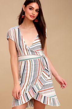 df43c9e1ea43 Wrap It Up Multi Stripe Wrap Dress