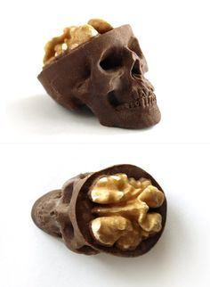 "Chocolate Skulls Gone Nuts      ::          Three delicious chocolate skulls with walnut / candy brain, sized:  - 5 x 3.5 x 3cm (2"" x 1.38"" x 1.18"")."