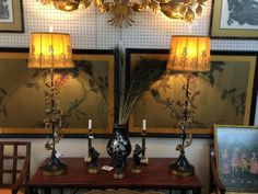 """Fab Pair of Italian Lamps With Crystals  Gilt Acanthus Leaves   39"""" Tall  $345 Pair  Eclectic Treasures Booth #8279  Lula B's  1010 N. River..."""