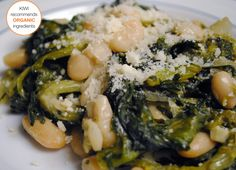Cheesy braised escarole and beans