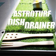 DIY Astroturf Dish Drainer