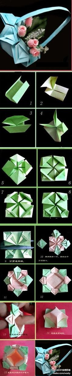 Origami basket - also makes a beautiful dish.  Photo diagrams.