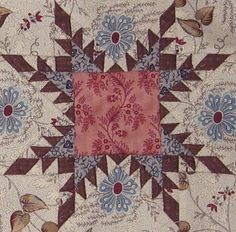 "Feathered Star  block in ""1865, passion sampler"" quilt"