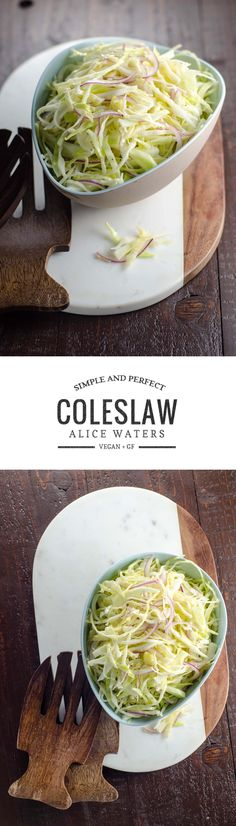 This simple coleslaw recipe from Alice Waters combines a handful of pared-down seasonal ingredients into a wonderful side dish for your summer salad needs. Side Dishes Easy, Vegetable Side Dishes, Side Dish Recipes, Vegetable Recipes, Savory Salads, Healthy Salad Recipes, Vegan Recipes, Meatless Recipes, Side Salad
