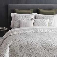 Dramatically stylish, the Vera Wang Home Dragonfly Wing Duvet Cover brings a unique, striking look to your space. In soft sateen-weave cotton for extra comfort, the duvet cover features a beautiful wing vein design for an understated, bold statement. King Size Comforter Sets, King Size Comforters, Duvet Sets, Duvet Bedding, Bedding Shop, Cotton Bedding, Linen Bedding, Pottery Barn, Ikea