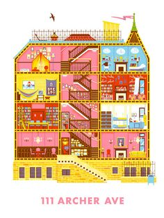 Stunning Prints Featuring Detailed Cross-Sections Of Wes Anderson's Movie Sets - DesignTAXI.com