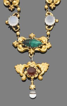 A mid 19th century gem-set and gold repoussé pendant necklace,