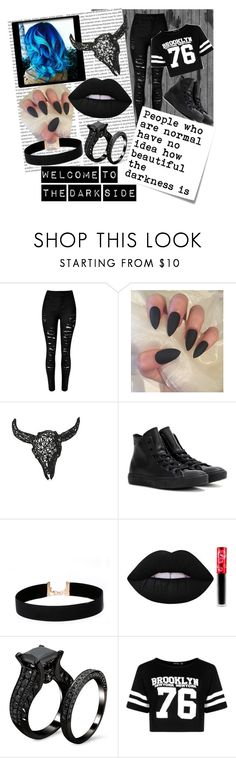 """""""Dark Soul"""" by mynameissox ❤ liked on Polyvore featuring Converse, LULUS, Lime Crime, Post-It and Boohoo"""