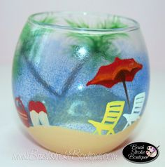 Hand Painted Wine Glass Beachy Keen by BrushStrokeBoutique
