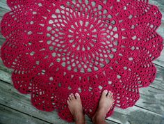 "Wine Red Cotton Crochet Rug in Large 42"" Circle Pineapple Lacy Pattern"