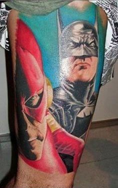 Alex Ross Flash Batman comic book tattoo    I'd like to meet whoever has this tattoo. :)