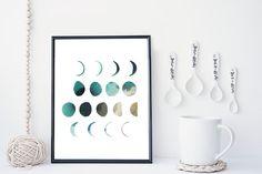 Moon phase art print, watercolor, home wall decor, apartment wall art, modern print, minimal moon poster, simple, gift, blue moon  -PRODUCT,