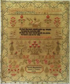 MID 19TH CENTURY FLORAL MOTIF & VERSE SAMPLER BY SARAH HENDERSON AGED 9 - 1858