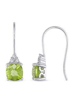 2.2 ct Peridot & Diamond Earrings In 10k White Gold - Beyond the Rack