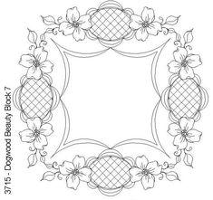 Dogwood Beauty Block 7 by One Song Needle Arts Flower Coloring pages colouring adult detailed advanced printable Kleuren voor volwassenen coloriage pour adulte anti-stress kleurplaat voor volwassenen