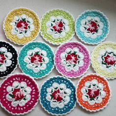yoonsook_a:- Cath kidston flower teacoaster 원작자는 Susan(@suregal27) 입니다  #crochetcoaster  #crochetmotif #cathkidstoncrochetflower  #cathkidston  #crochet