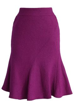 Flare Tweed Skirt in Purple