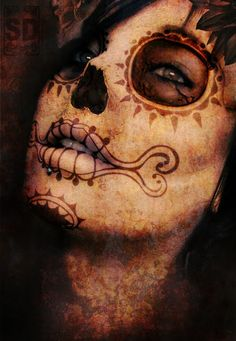 Dia De Los Muertos i wamt to get something like this tatted half sleeve left arm some day soooon.