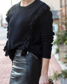 LEATHER MIDI SKIRT - Styled Snapshots, fringe sweater, date night outfit