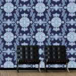 Thibaut Halie Navy wallpaper, available from Fashion Wallpaper