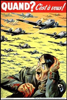 This picture is a propaganda poster that depicts many military planes flying over as cowering Hitler. it is encouraging support in the war and enrollment in the military. Ww2 Propaganda Posters, Political Posters, Military Art, Military History, Military Recruiting, Pin Up, American War, World War Two, Vintage Posters
