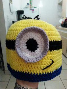 Custom minion crochet beanie