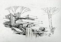 ❥ DinhHaikts Landscape Architecture Drawing, Colour Architecture, Architecture Sketchbook, Futuristic Architecture, Conceptual Sketches, Art Sketches, Falling Water Frank Lloyd Wright, Falling Water House, House Sketch