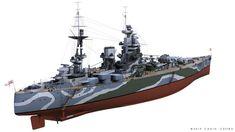 ArtStation - HMS RODNEY, Carlo Cestra Model Warships, Image Archive, Navy Ships, Royal Navy, Battleship, World War Ii, Mountain Biking, Wwii, British