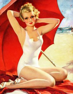 """Sweetheart of the Sun"" by Bradshaw Crandell c. 1930's Vintage Pin Up Girl Illustration 