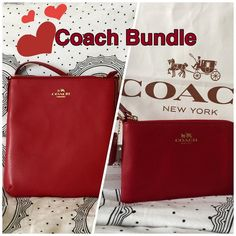 FINAL PRICE NWT COACH BUNDLE - RED A bundle of a Crossbody and Wristlet. Both NEW with Tags still attached. Together retails for $270. Coach Bags Crossbody Bags