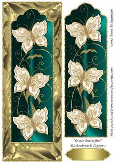 """Grace Butterflies DL Bookmark Topper 1 on Craftsuprint designed by Anna Babajanyan - A very elegant DL card topper which I have designed with my latest """"Grace Butterfly Bookmark"""" design placed on my """"Antique"""" background and decorated with my Rich swirls decorative border design. An extra image of the bookmark layer is included on the sheet which you can use to decoupage either the whole bookmark or just cut out the butterflies and decoupage the butterflies on the topper for a beautiful 3D…"""