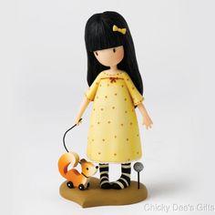 Santoro's Gorjuss The Pretend Friend Figurine yellow girl w dog Mother's Day NEW