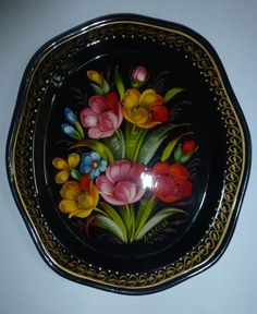 Zhostovo Metal Tray Hand Painted Flowers Signed Ussr | eBay