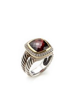 David Yurman - Garnet & Pave Diamond Ring