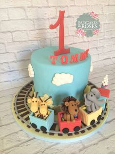 Baby animals train cake