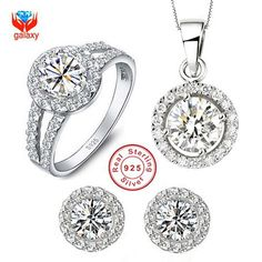 GALAXY 100% 925 Sterling Silver Jewelry Sets Round CZ Diamond Pendant Necklace Earrings Ring Women's Wedding Jewelry Sets YS014