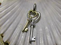 14k Diamond Key Pendant Charm