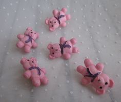Five Pink Teddy Bear Buttons Great for Little by MendozamVintage
