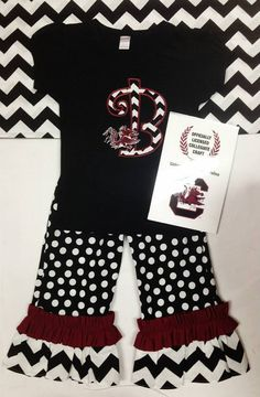 Harper and Addison must have these for football this year! USC gamecocks ruffle pant set outfit  by FabulouslySouthern, $44.00