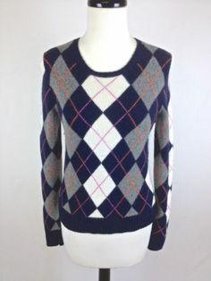 Marconi Womens 100 2 Ply Cashmere Argyle Sweater Vest Sz s Nice ...