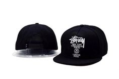 Mens Stussy World Tour New York Los Angeles Tokyo London Paris Snapback Hat - Black / White