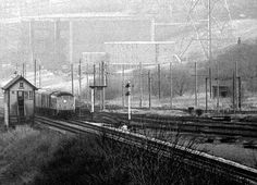 Another view of Kearsley railway sidings, showing Kearsley Junction signal box and the Kearsley power station electric railway catenary masts : electric locos hauled coal down from the sidings under the main line to the power station. Maine, Electric, Box, Snare Drum