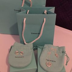 Tiffany silver heart necklace w matching earrings Brand new earrings and necklace in silver. Was given to me as a gift. New in original dust bags, box with bow and both bags. Can be separated. Ask if any questions, 400$ on 〽️ericari Tiffany & Co. Accessories
