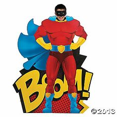 TOTALLY GETTING THIS!!!!! $35 Oriental Trading....Superhero Photo Stand-Up