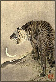 """Roaring Tiger, Crescent Moon"" (c1910-23) by Koson Ohara / Ohara Shoson by Plum leaves, via Flickr"