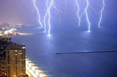 Amazing long exposure photo of Lightnings on Lake Michigan