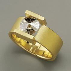 Spirit Sun Ring by Batho Gündra. Nice unusual stone setting!   Like would be better in white gold.