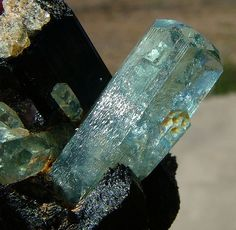 Aquamarine crystal on tourmaline from Erongo Mountains of Namibia
