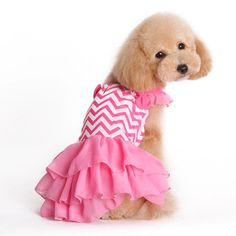 - Chevron patterned dress with layered ruffled skirt and ruffled shoulder straps accented with two bows. - PLEASE NOTE: It is very important that you carefully MEASURE YOUR DOG with the SIZE CHART before placing your order Girl Dog Clothes, Small Dog Clothes, Puppy Clothes, Puppy Diapers, Designer Dog Clothes, Pet Fashion, Tennis Dress, Chevron Dress, Dog Dresses